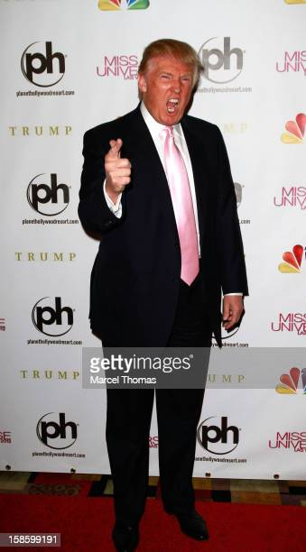 Donald Trump arrives at the 2012 Miss Universe Pageant at Planet Hollywood Resort Casino on December 19 2012 in Las Vegas Nevada