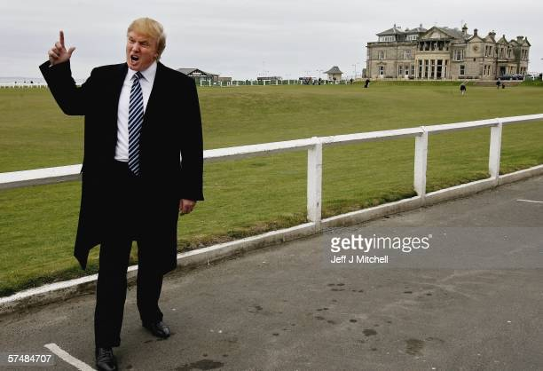 Donald Trump arrives at the Old Course in St Andrews where he was meeting with the media to answer questions regarding Trump International Golf Links...