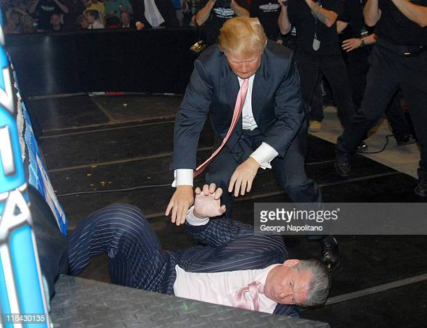 Donald Trump attacks Vince McMahon during the 'Battle of the Billionaires' at wrestlemania 23 at Ford Field in Detroit front of 80 103 fans