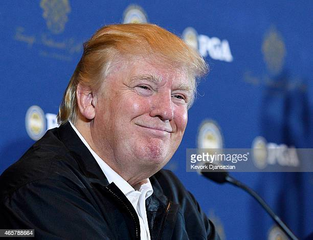 Donald Trump attends a press conference to announce the PGA Grand Slam of Golf site at Trump National Golf Club Los Angeles March 10 2015 in Palos...