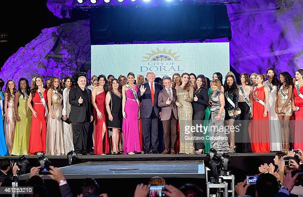 Donald Trump attends Miss Universe Welcome Event and Reception at Downtown Doral Park on January 9 2015 in Doral Florida
