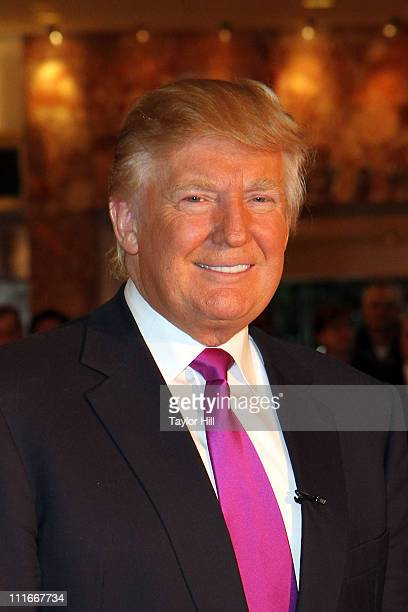 Donald Trump attends the 100th anniversary Indianapolis 500 Chevrolet pace car celebrity driver announcement at Trump Tower on April 5 2011 in New...