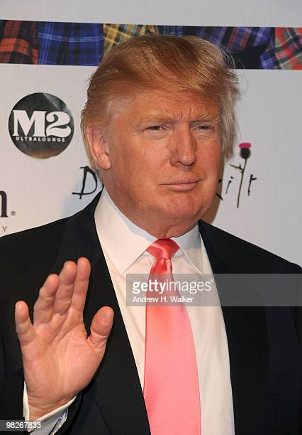 Donald Trump attends the 8th annual 'Dressed To Kilt' Charity Fashion Show presented by Glenfiddich at M2 Ultra Lounge on April 5 2010 in New York...