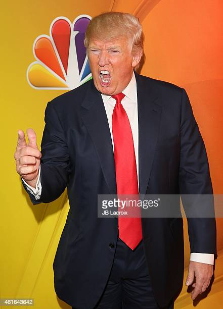 Donald Trump attends the NBCUniversal 2015 Press Tour at the Langham Huntington Hotel on January 16 2015 in Pasadena California