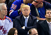 Donald Trump attends the Washington Capitals vs New York Rangers game at Madison Square Garden on May 8 2015 in New York City