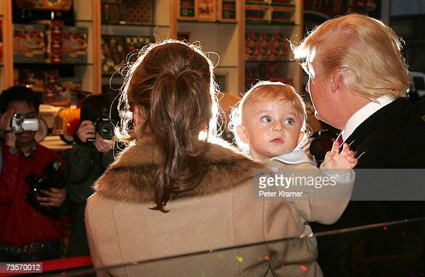 Donald Trump Barron Trump and Melania Trump attend the 16th Annual Bunny Hop at FAO Schwartz to benefit the Memorial SloanKettering Cancer Center...