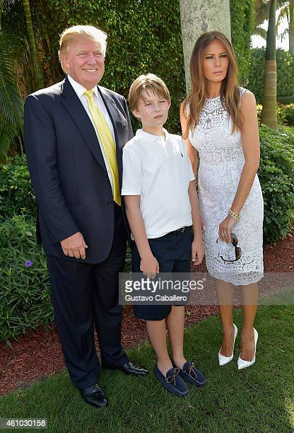 Donald Trump Barron Trump and Melania Trump attends Trump Invitational Grand Prix MaraLago Club at The MaraLargo Club on January 4 2015 in Palm Beach...