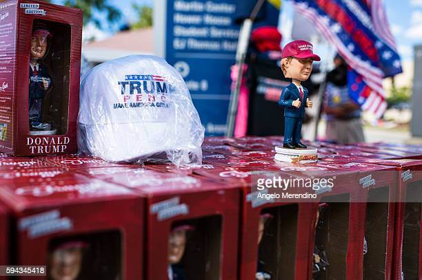 Donald Trump bobblehead dolls for sale outside his rally at the campaign rally at the James A Rhodes Arena on August 22 2016 in Akron Ohio Trump...