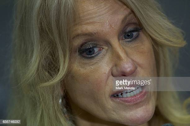 Donald Trump campaign manager Kellyanne Conway speaks to the media after a rally for the Republican Presidential nominee November 4 2016 at Giant...