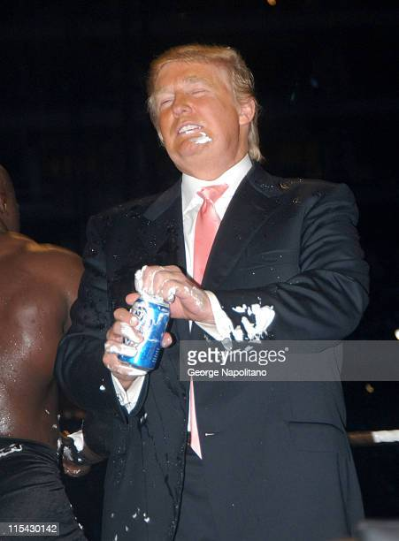 Donald Trump celebrates his victory at Wrestlemania 23 not with a glass of champagne but with a cold can of beer