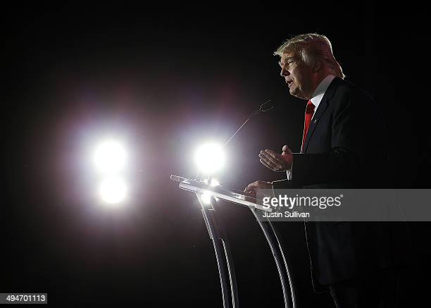 Donald Trump chairman and president of the Trump Organization and the founder of Trump Entertainment Resorts speaks during day two of the 2014...