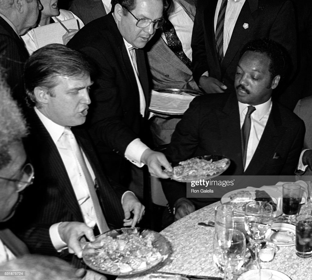 Donald Trump, Don King and Jesse Jackson attend Tyson-Spinks Boxing Match on June 27, 1988 at Trump Plaza Hotel and Casino in Atlantic City, New Jersey.