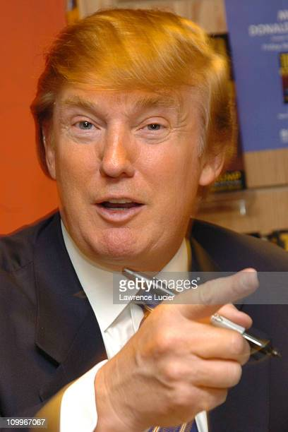 Donald Trump during Donald Trump Signs His New Book How To Get Rich at Borders Wall Street in New York City New York United States