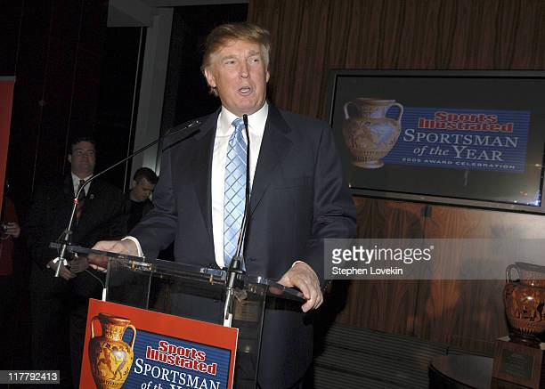 Donald Trump during Sports Illustrated 2005 Sportsman of the Year Party Inside at Stone Rose in New York City New York United States