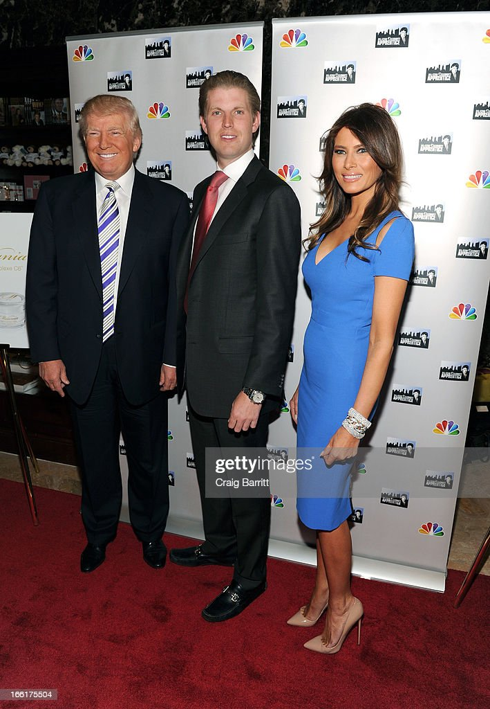 Donald Trump, Eric Trump and Melania Trump attend 'Celebrity Apprentice All-Star' event at Trump Tower on April 9, 2013 in New York City.