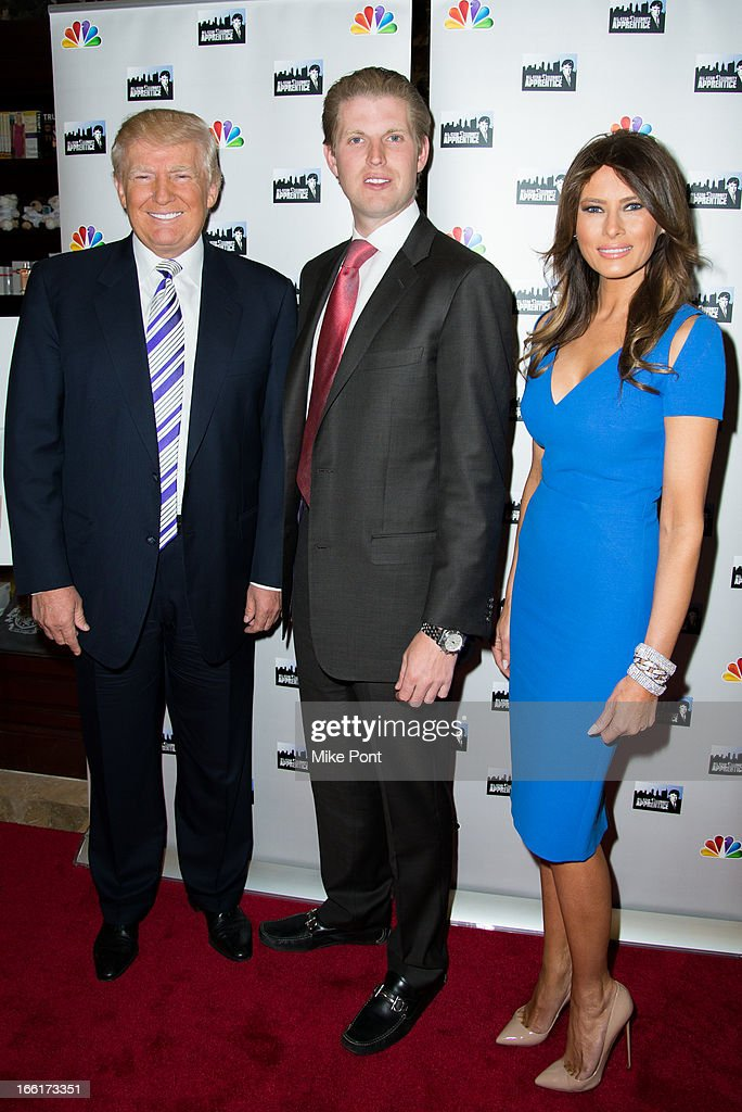 Donald Trump, Eric Trump and Melania Trump attend the 'Celebrity Apprentice All-Star Event with Donald and Melania Trump' at Trump Tower on April 9, 2013 in New York City.
