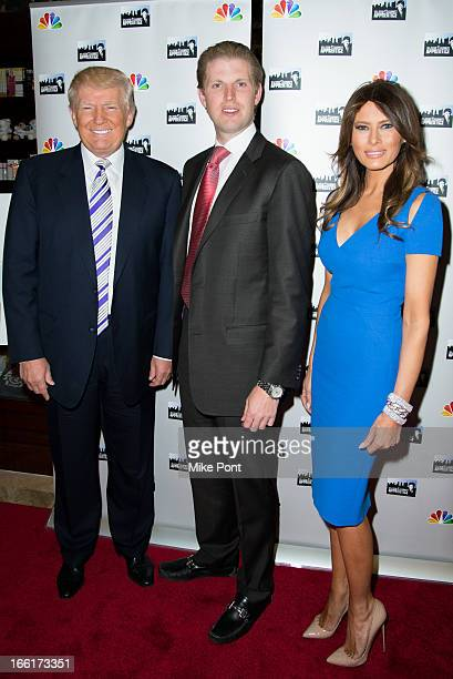 Donald Trump Eric Trump and Melania Trump attend the 'Celebrity Apprentice AllStar Event with Donald and Melania Trump' at Trump Tower on April 9...