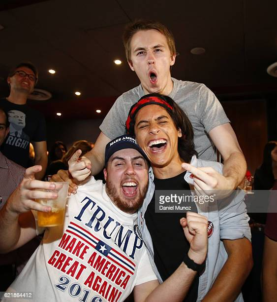 Donald Trump fans cheer at the United States Studies Centre at the University of Sydney on November 9 2016 in Sydney Australia Americans have gone to...