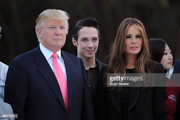 Donald Trump figure skater Johnny Weir and Melania Trump attend the Figure Skating in Harlem's 2010 Skating with the Stars benefit gala in Central...