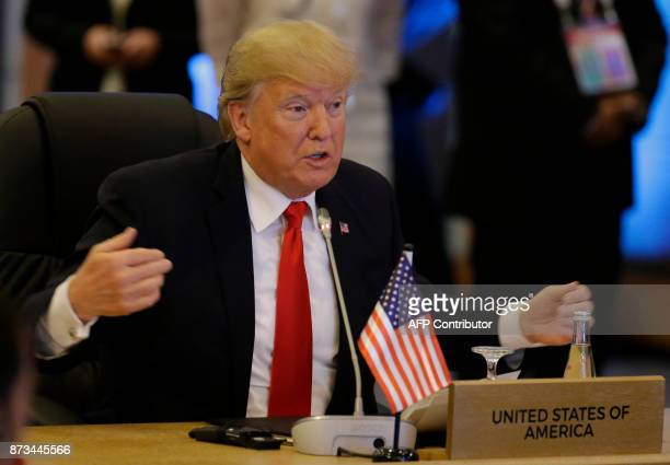 US Donald Trump gestures during the ASEANUS 40th Anniversary Commemorative Summit on the sideline of the 31st Association of Southeast Asian Nations...