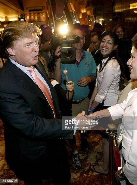 Donald Trump greets 'Apprentice' candidates in Trump Towers July 30 2004 in New York City