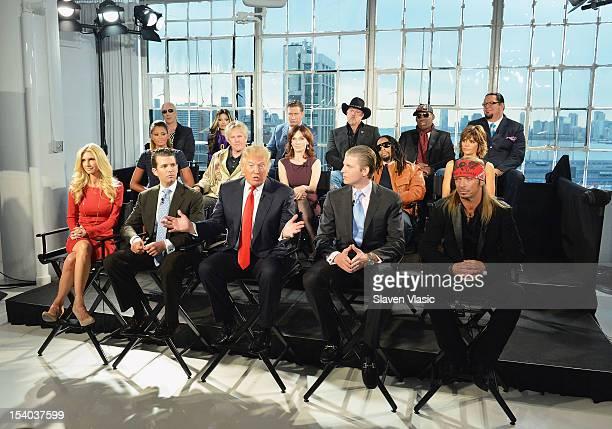 Donald Trump his sons Eric F Trump Donald Trump Jr and Season 13 contestants attend the 'Celebrity Apprentice All Stars' Season 13 Press Conference...