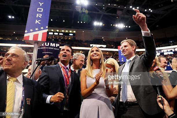 Donald Trump Jr along with Ivanka Trump and Eric Trump announce take part in the roll call in support of Republican presidential candidate Donald...