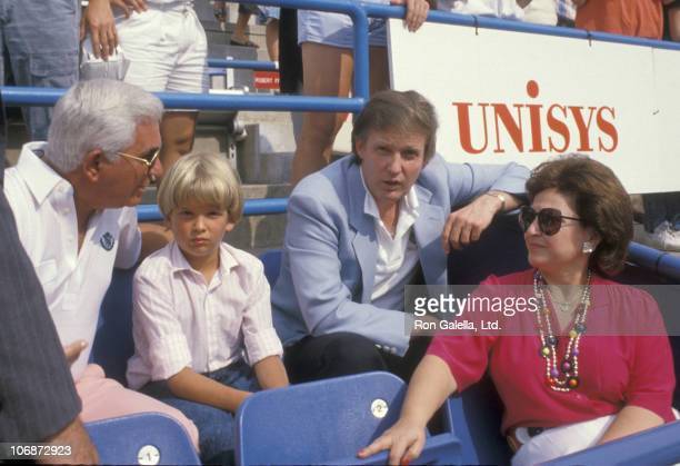Donald Trump Jr and Donald Trump during 1988 US Open September 3 1988 at Flushing Meadows Corona Park in Queens New York United States