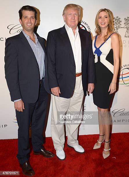 Donald Trump Jr Donald Trump and Ivanka Trump attend The Opening Drive Party at Hyde Beach on March 4 2014 in Miami Florida