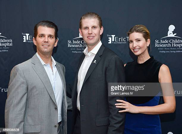 Donald Trump Jr Eric Trump and Ivanka Trump attend the 9th Annual Eric Trump Foundation Golf Invitational Auction Dinner at Trump National Golf Club...