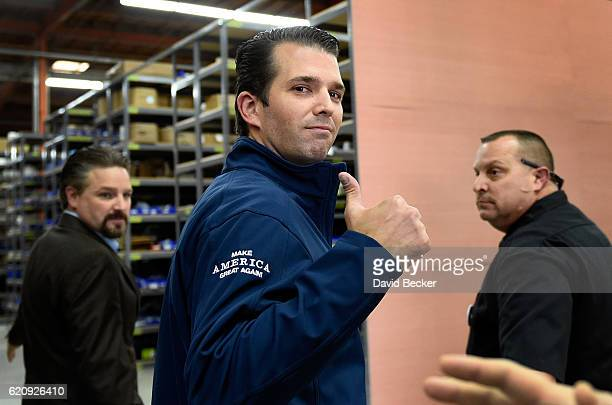 Donald Trump Jr gives a thumbsup after a getoutthevote rally for his father Republican presidential nominee Donald Trump at Ahern Manufacturing on...