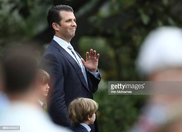 Donald Trump Jr greets guests during the 139th Easter Egg Roll on the South Lawn of the White House April 17 2017 in Washington DC The White House...