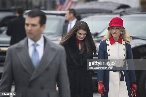 Donald Trump Jr Hope Hicks and Kellyanne Conway depart the Blair House as he heads to a morning worship service on Inauguration day at St John's...