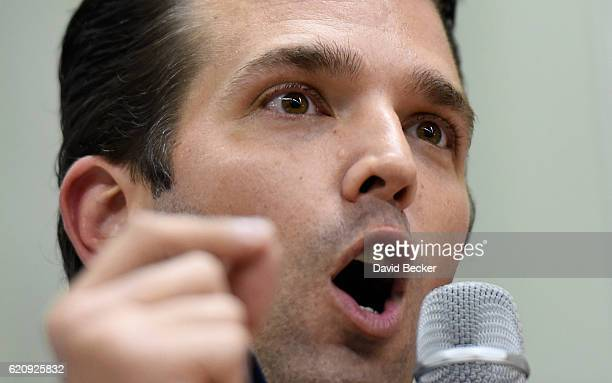 Donald Trump Jr speaks during a getoutthevote rally for his father Republican presidential nominee Donald Trump at Ahern Manufacturing on November 3...