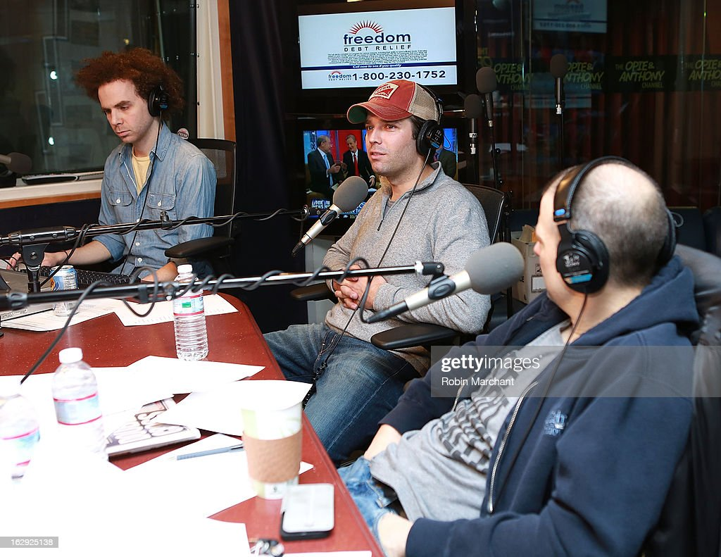 Donald Trump Jr. (C) visits 'The Opie & Anthony Show' at SiriusXM Studios on March 1, 2013 in New York City.