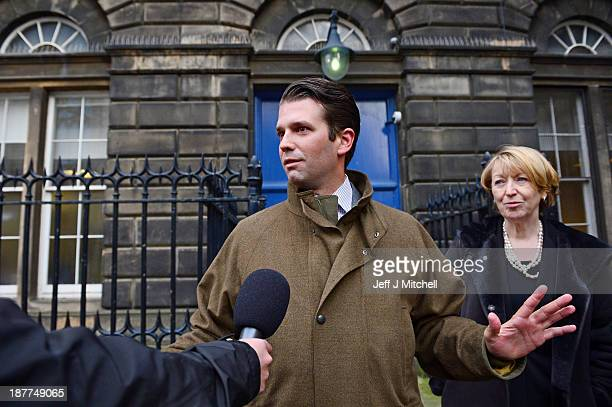 Donald Trump Junior speaks to the media outside the Edinburgh Court of Session where a four day hearing has begun challenging plans for an offshore...