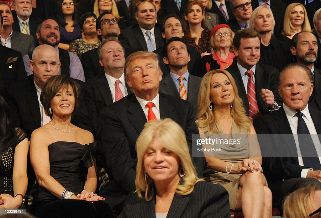 Donald Trump, Kathie Lee Gifford and Frank Gifford attend Regis Philbin's Final Show of 'Live! with Regis & Kelly' at the Live with Regis & Kelly Studio on November 18, 2011 in New York New York.