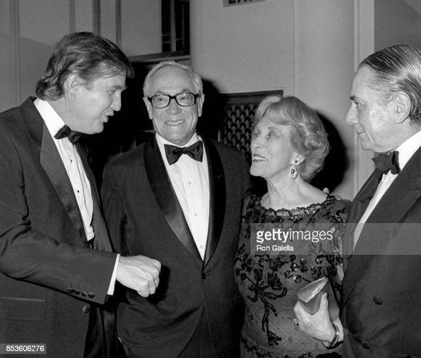Donald Trump Malcolm Forbes Estee Lauder and Kenneth Jay Lane attend Gourmet Gala March of Dimes Benefit on October 31 1988 at the Waldorf Hotel in...