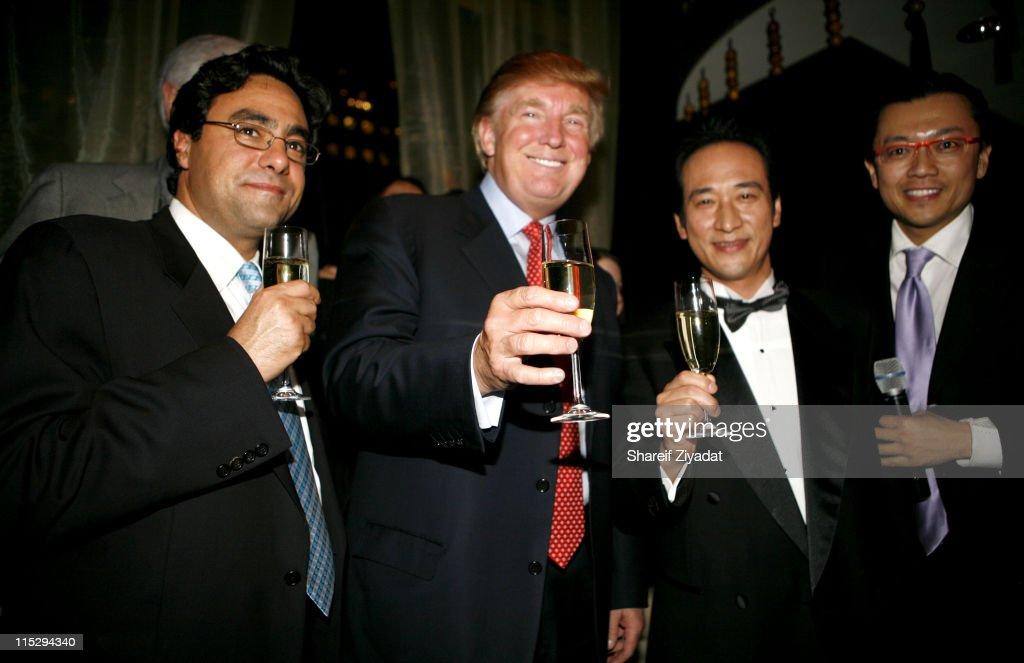 Donald Trump, Masahiro Origuchi and Hiro Nishida during Grand Opening of Megu Midtown at Trump World Towers at Trump World Towers in New York, NY, United States.