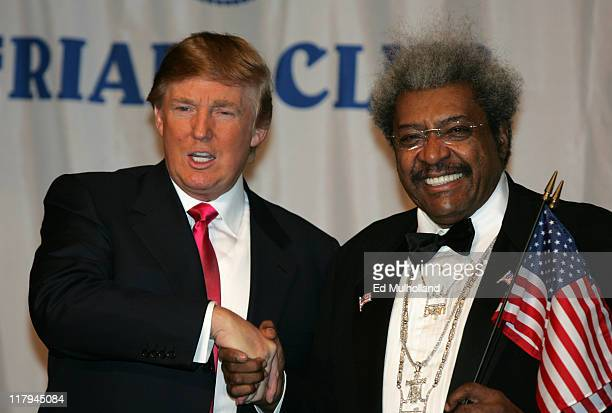 Donald Trump Master of Ceremonies and boxing promoter Don King prior to King's celebrity roast at the New York Hilton in New York City