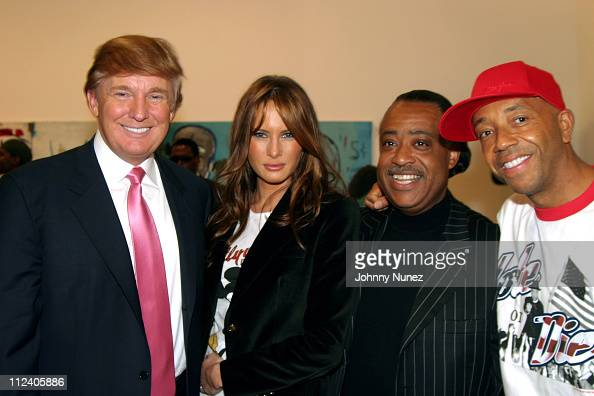 Donald Trump Melania Knauss Rev Al Sharpton and Russell Simmons