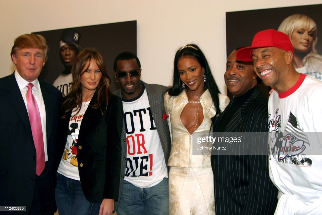 Donald Trump, Melania Knauss, Sean 'P.Diddy' Combs, Naomi Campbell, Rev. Al Sharpton and Russell Simmons