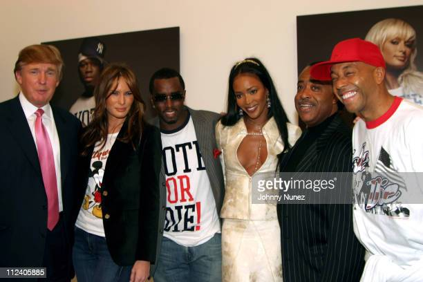 Donald Trump Melania Knauss Sean 'PDiddy' Combs Naomi Campbell Rev Al Sharpton and Russell Simmons