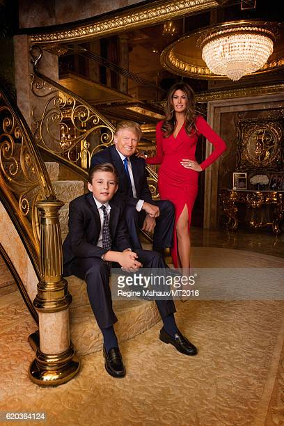 Donald Trump Melania Trump and Barron Trump are photographed at Trump Tower on January 6 2016 in New York City