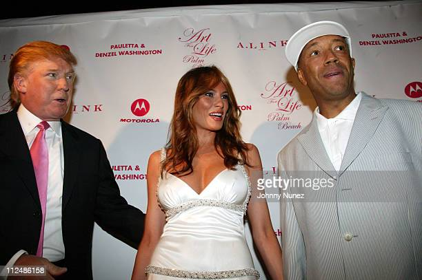 Donald Trump Melania Trump and Russell Simmons during 'Art for Life' Gala Honoring Sean 'P Diddy' Combs Hosted by Russell Simmons and Kimora Lee...