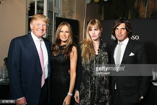 Donald Trump Melania Trump Delfina Blaquier and Nacho Figueras attend the Andrea Bocelli concert at The MaraLago Club on February 28 2010 in Palm...