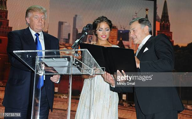 Donald Trump Miss Universe 2012 Olivia Culpo and Aras Agalarov attend a news conference following the 2013 Miss USA competition at Planet Hollywood...