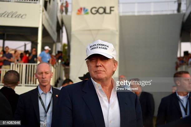 Donald Trump on the 18th hole during the final round of the World Golf ChampionshipsCadillac Championship at Trump National Doral Blue Monster Course...