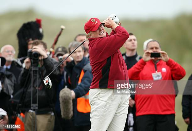 Donald Trump opens The Trump International Golf Links Course in Balmedie by hitting the first ball down the first fairway on July 10 2012 in Balmedie...