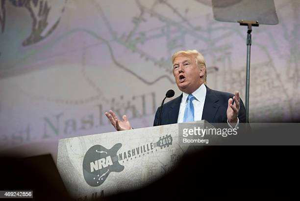 Donald Trump president and chief executive of Trump Organization Inc gestures as he speaks during the Leadership Forum at the 144th National Rifle...